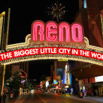 "Famous ""The Biggest Little City in the World"" sign at night in Reno, Nevada, USA"